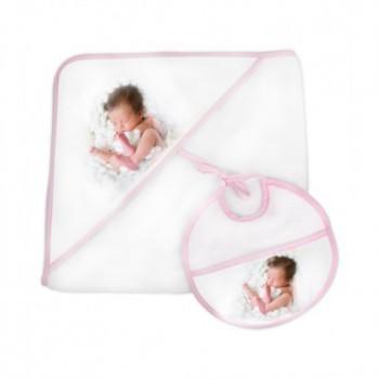 Conjunto de toalha de bebé com capuz + babet
